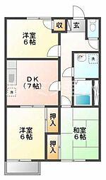 平岡ハイツA棟[2階]の間取り