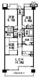 東急ドエル・アルス西宮山手アネックス[4階]の間取り