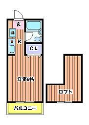 東京都立川市錦町1の賃貸アパートの間取り