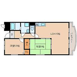 近鉄大阪線 大和高田駅 徒歩3分の賃貸マンション 5階2LDKの間取り