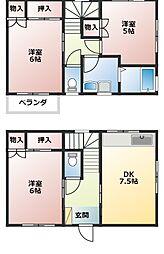 [テラスハウス] 神奈川県横須賀市野比1丁目 の賃貸【神奈川県 / 横須賀市】の間取り