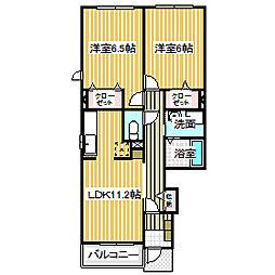 愛知県名古屋市中川区一色新町2の賃貸アパートの間取り