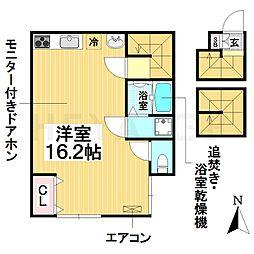 名古屋市営名城線 新瑞橋駅 徒歩5分の賃貸アパート 3階ワンルームの間取り