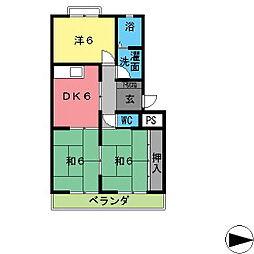 興産スカイハイツIII[407号室]の間取り
