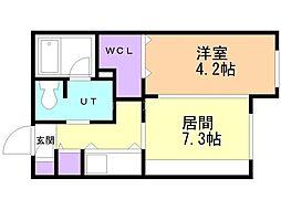 メニーズコート豊平川 5階1LDKの間取り