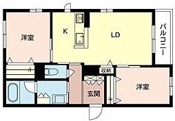 北大阪急行電鉄 千里中央駅 徒歩15分の賃貸マンション 2階2LDKの間取り