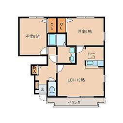 奈良県生駒郡三郷町勢野北の賃貸アパートの間取り