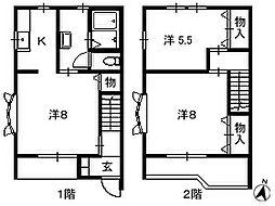 埼玉県吉川市高久の賃貸アパートの間取り