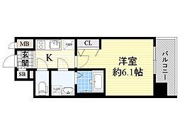 阪神本線 淀川駅 徒歩5分の賃貸マンション 9階1Kの間取り