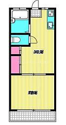 JR中央本線 国分寺駅 徒歩15分の賃貸マンション 2階1DKの間取り