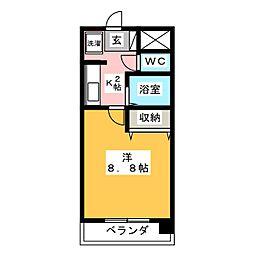 サンハイム寺田 2階1Kの間取り