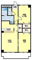 愛知県豊田市柿本町6丁目の賃貸マンションの間取り