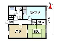 ビクトワールA 2階2DKの間取り