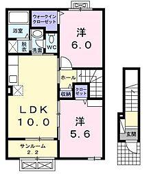 シャイネスナナII 2階2LDKの間取り