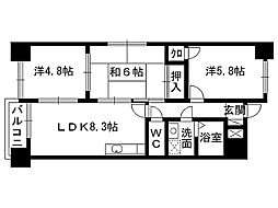 福岡県北九州市八幡西区則松4丁目の賃貸マンションの間取り