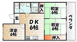 矢野第3ビル[503号室]の間取り