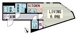 ブランシェ東麻布 3階ワンルームの間取り