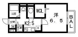 ルピナスA棟[203号室号室]の間取り