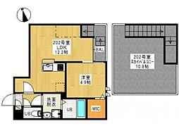JR宇野線 大元駅 徒歩31分の賃貸アパート 2階1LDKの間取り