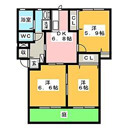 フォーレス豊田II[1階]の間取り