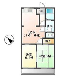 三重県津市久居烏木町の賃貸アパートの間取り