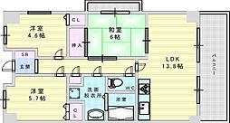 北大阪急行電鉄 桃山台駅 徒歩6分の賃貸マンション 5階3LDKの間取り