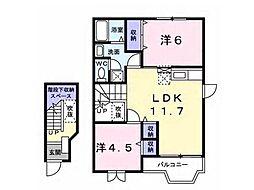 メゾンドアヴェニューB棟[2階]の間取り