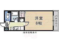 白鷺TKハイツ2号館 3階1Kの間取り