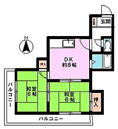 ハイツ77(2F南西角)[2階]の間取り