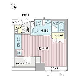 ヴォアール日本橋人形町 2階ワンルームの間取り