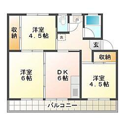 川田コーポラスA[405号室]の間取り