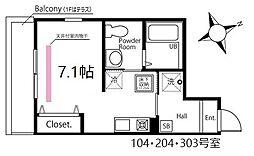 ハーミットクラブハウス鶴見生麦III(仮) 1階ワンルームの間取り