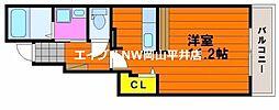 JR山陽本線 岡山駅 バス15分 木材市場前下車 徒歩1分の賃貸アパート 1階1Kの間取り