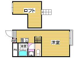 福岡県福岡市早良区野芥4丁目の賃貸アパートの間取り