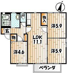 アルカディア E棟[2階]の間取り