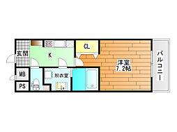 Chez moi   (シェモア藤井寺駅前) 3階1Kの間取り