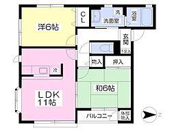 ガーデンヒルズA棟 2階2LDKの間取り
