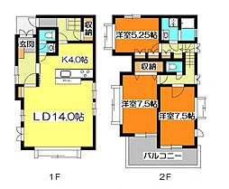 [一戸建] 東京都東久留米市金山町2丁目 の賃貸【/】の間取り