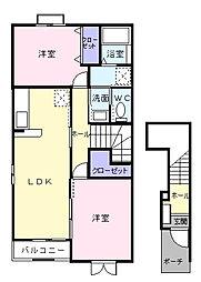 ノバ・グランツB[2階]の間取り