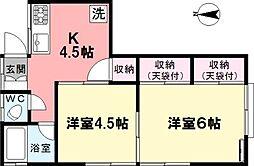 第一篠アパート[202号室]の間取り