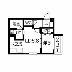 Y.T tower月寒東(ワイドットティータワー月寒東) 3階1LDKの間取り