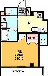 仮)中十条3丁目新築マンション 1階1Kの間取り