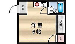 ラフィーネ1号館 2階ワンルームの間取り