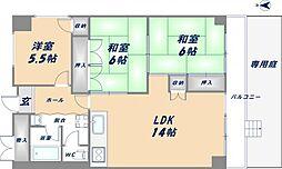 小阪駅前コーポ[3階]の間取り