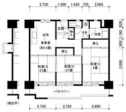 南港わかぎの43号棟[3階]の間取り
