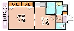 福岡県福岡市博多区築港本町の賃貸マンションの間取り