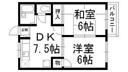 メゾン仁和寺[E号室]の間取り