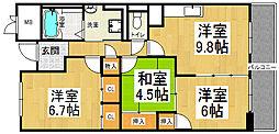 サニーヒル忍ヶ丘[8階]の間取り