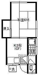 第一ユタカ荘[2階B号室号室]の間取り