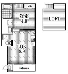 オリエンタル清水[1階]の間取り